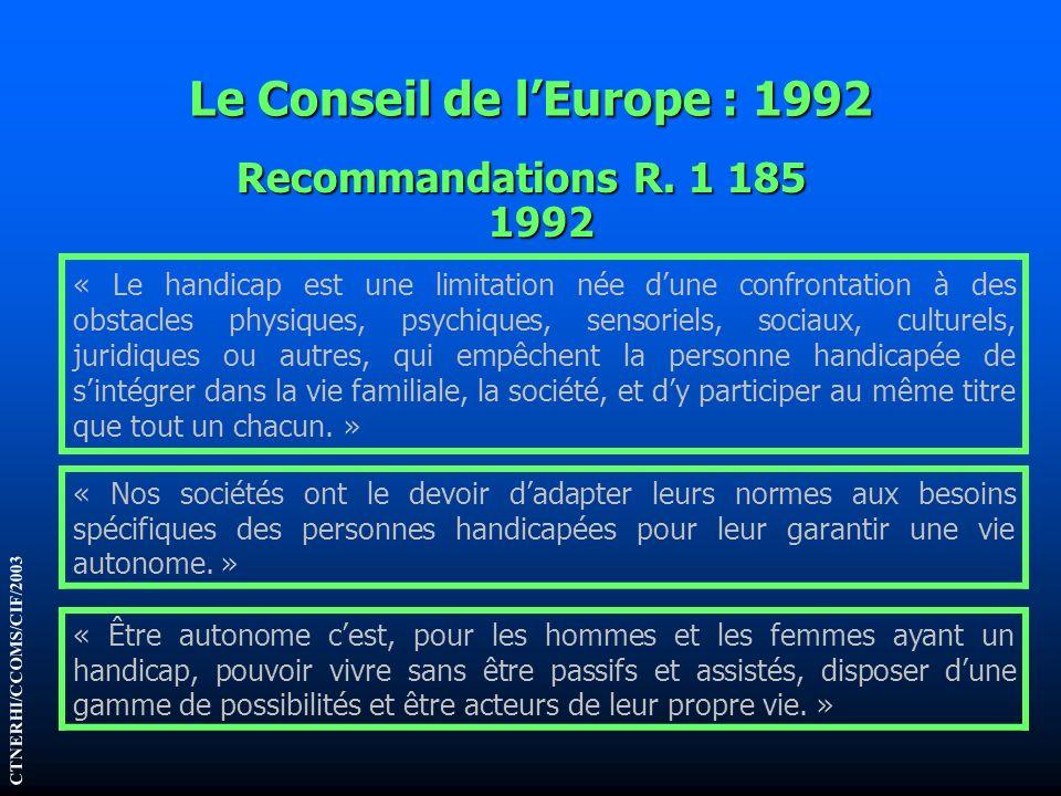 Le Conseil de l'Europe : 1992