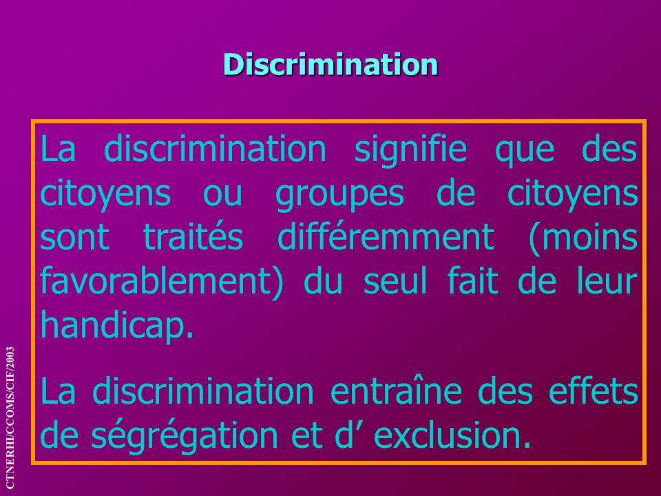 La discrimination entraîne des effets de ségrégation et d' exclusion.