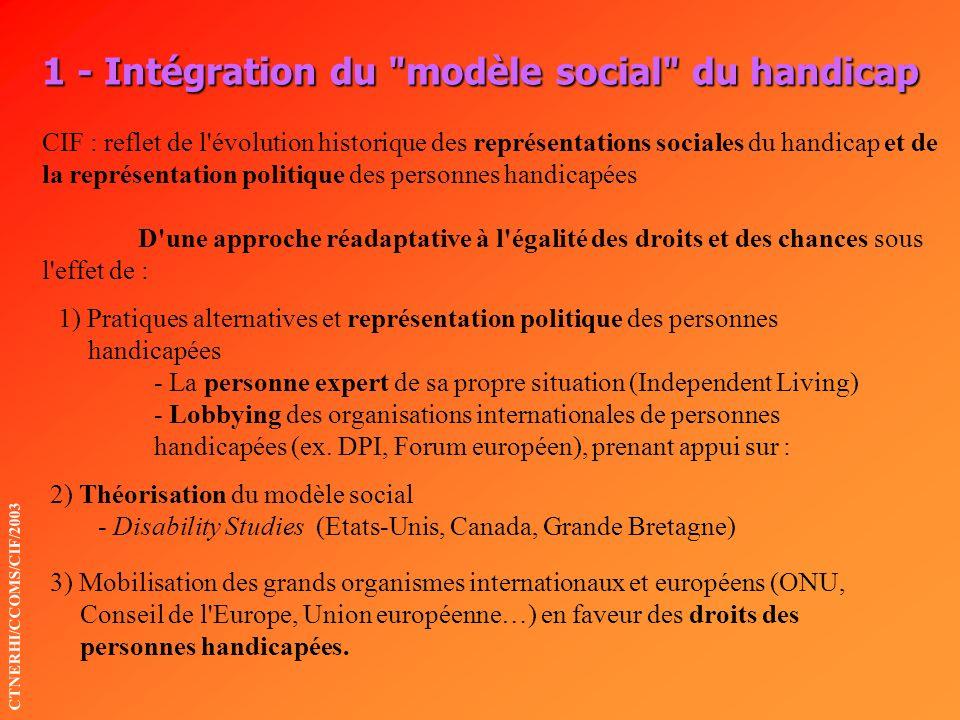 1 - Intégration du modèle social du handicap