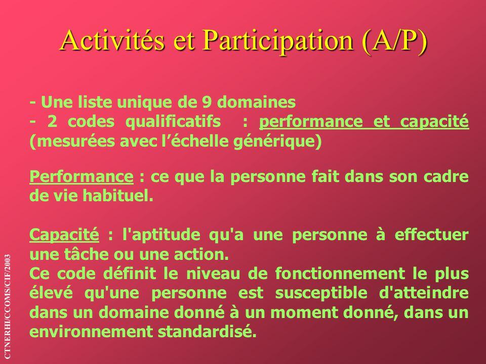 Activités et Participation (A/P)