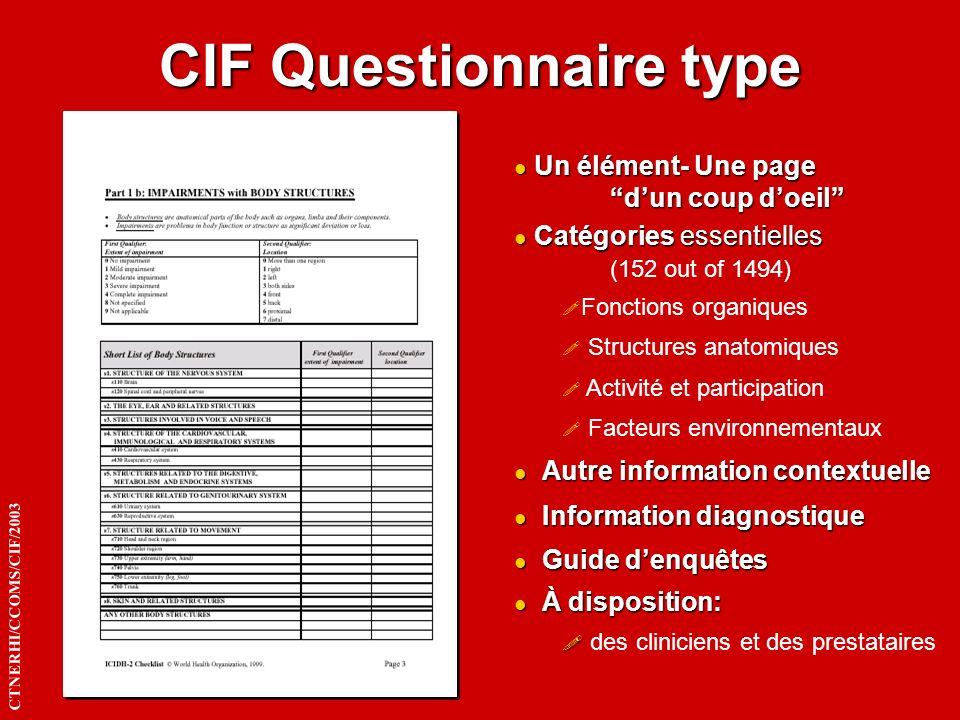 CIF Questionnaire type