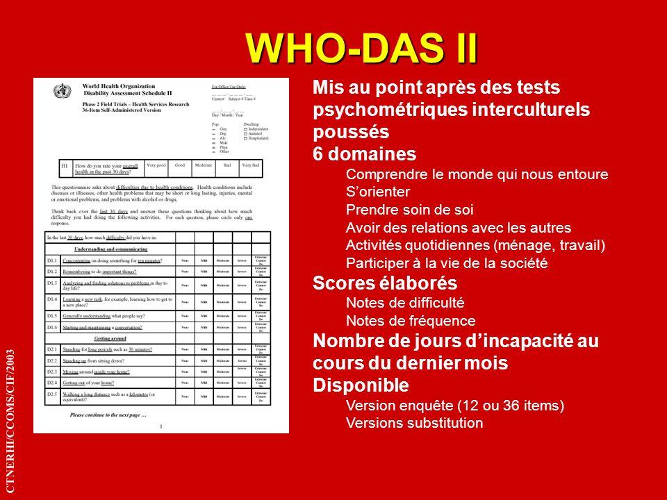 WHO-DAS II Mis au point après des tests psychométriques interculturels poussés. 6 domaines. Comprendre le monde qui nous entoure.