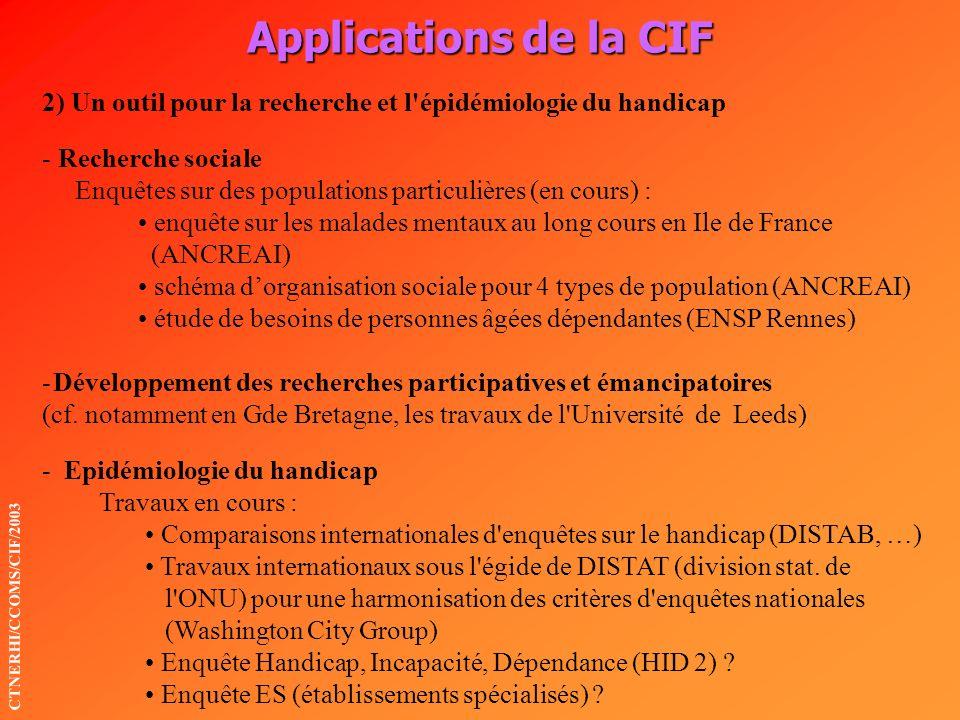 Applications de la CIF 2) Un outil pour la recherche et l épidémiologie du handicap. Recherche sociale.