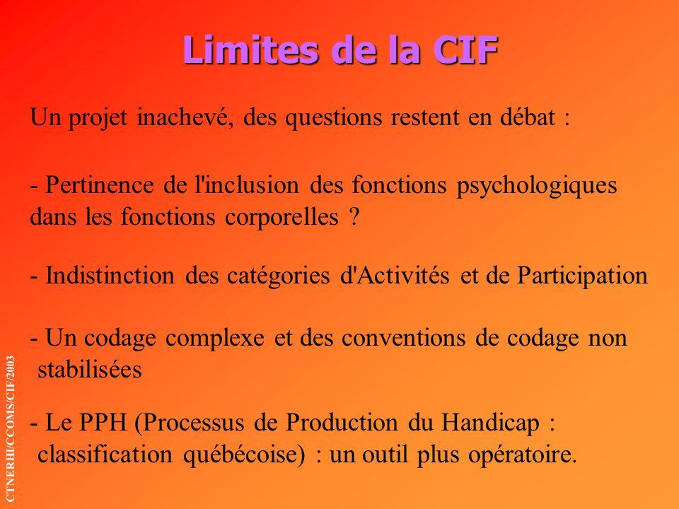Limites de la CIF Un projet inachevé, des questions restent en débat :