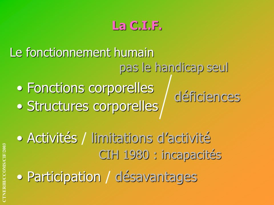 Fonctions corporelles Structures corporelles déficiences