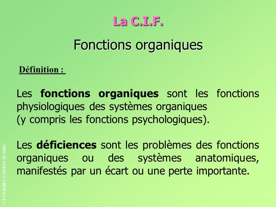 La C.I.F. Fonctions organiques