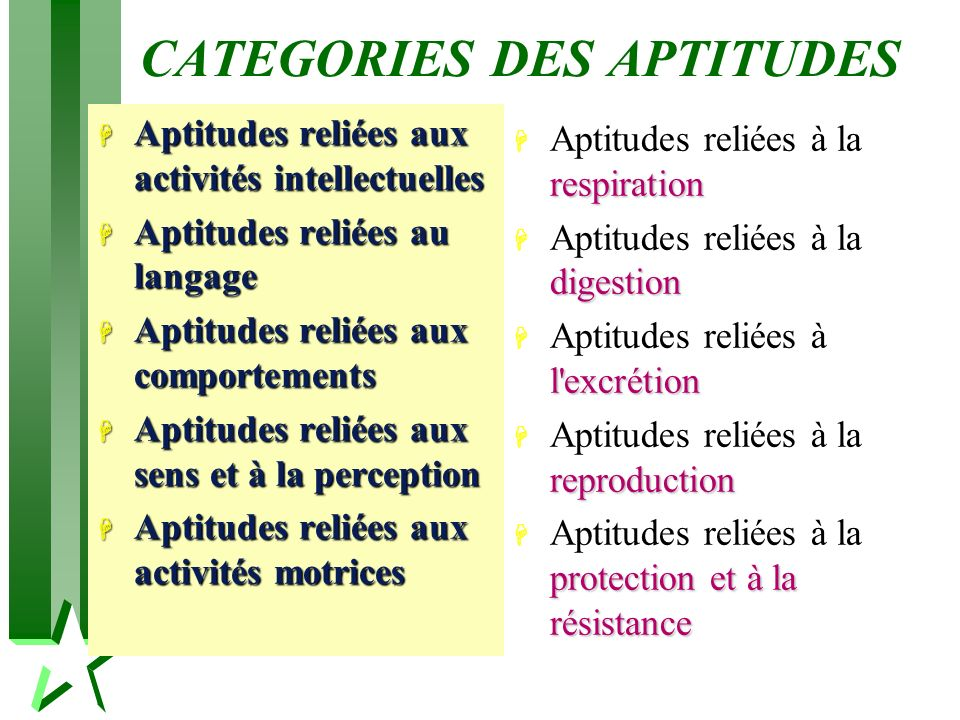 CATEGORIES DES APTITUDES
