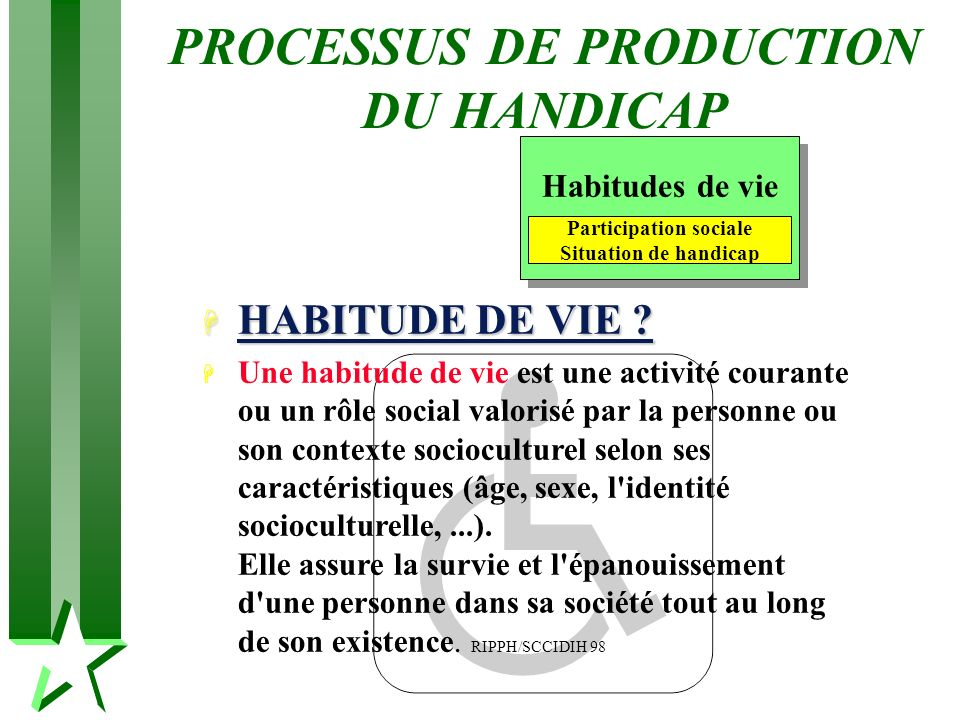 PROCESSUS DE PRODUCTION DU HANDICAP