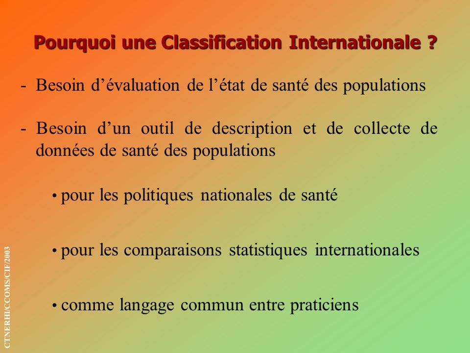 Pourquoi une Classification Internationale