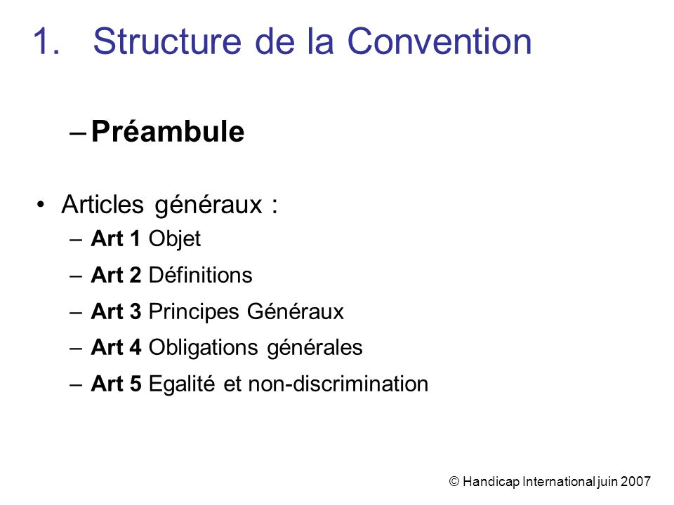Structure de la Convention
