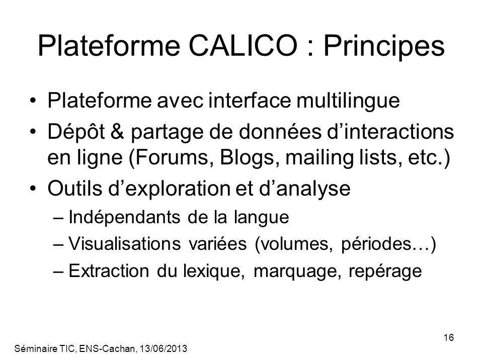 Plateforme CALICO : Principes