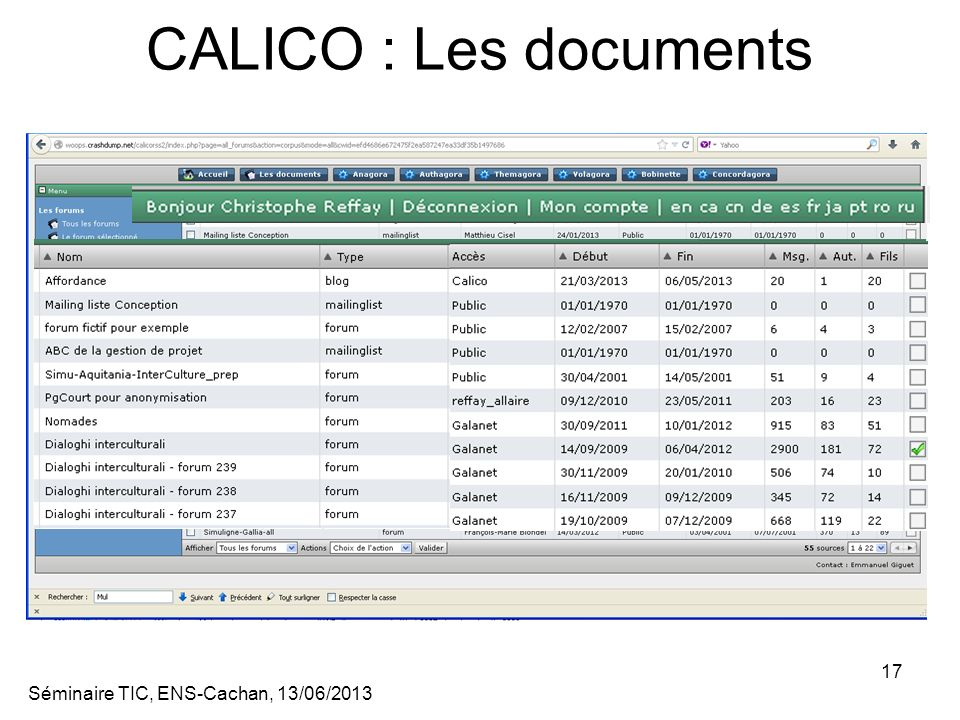 CALICO : Les documents Séminaire TIC, ENS-Cachan, 13/06/2013