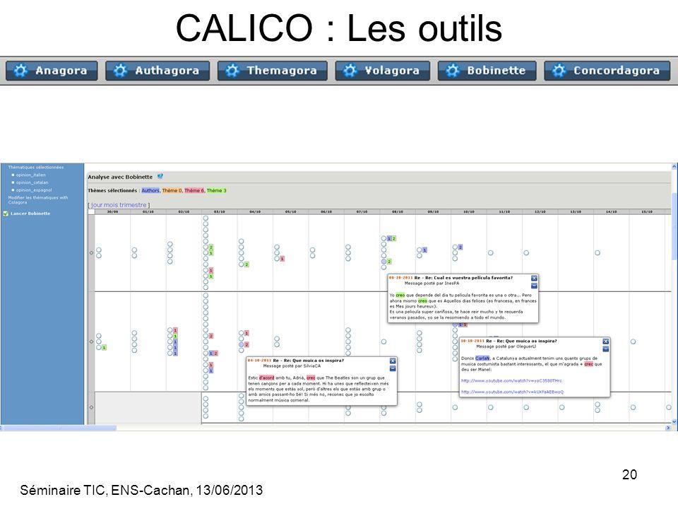 CALICO : Les outils Séminaire TIC, ENS-Cachan, 13/06/2013