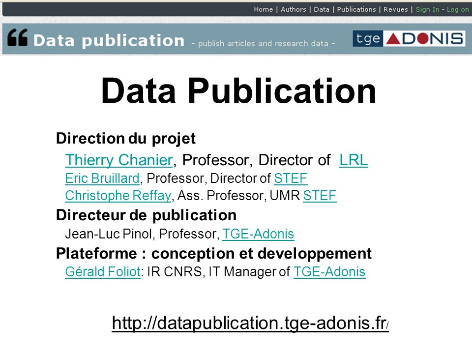 Data Publication Direction du projet