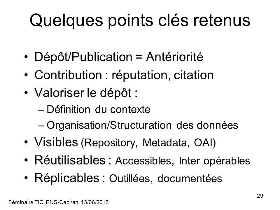 Quelques points clés retenus