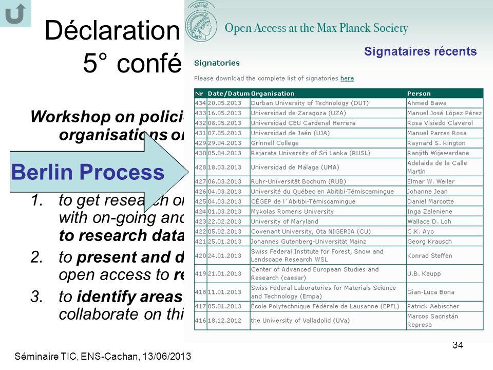 Déclaration Berlin (Open Access) 5° conférence (Padoue, 2007)