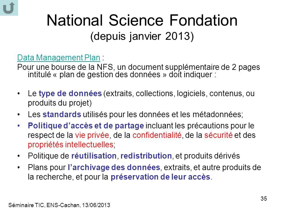 National Science Fondation (depuis janvier 2013)