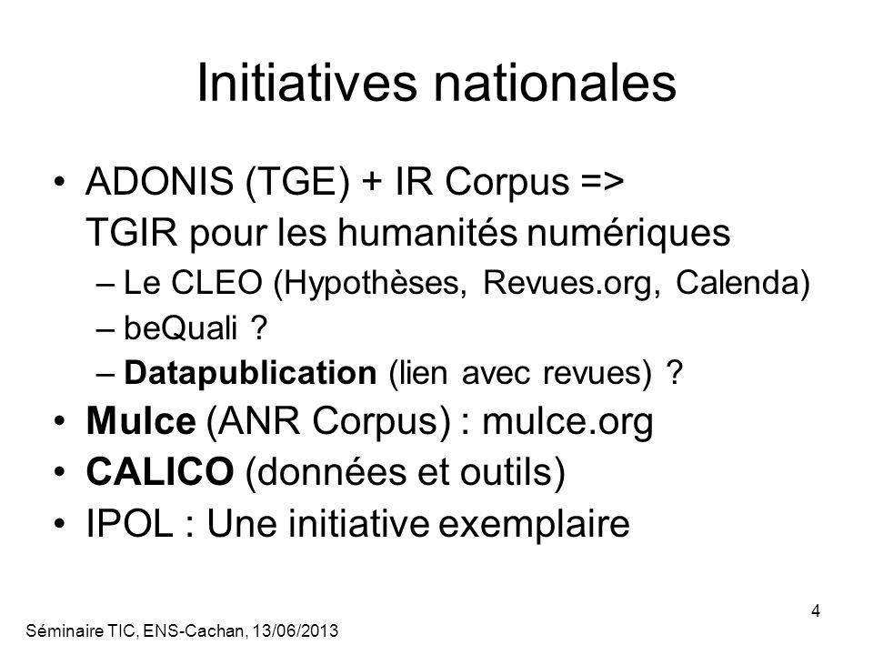 Initiatives nationales