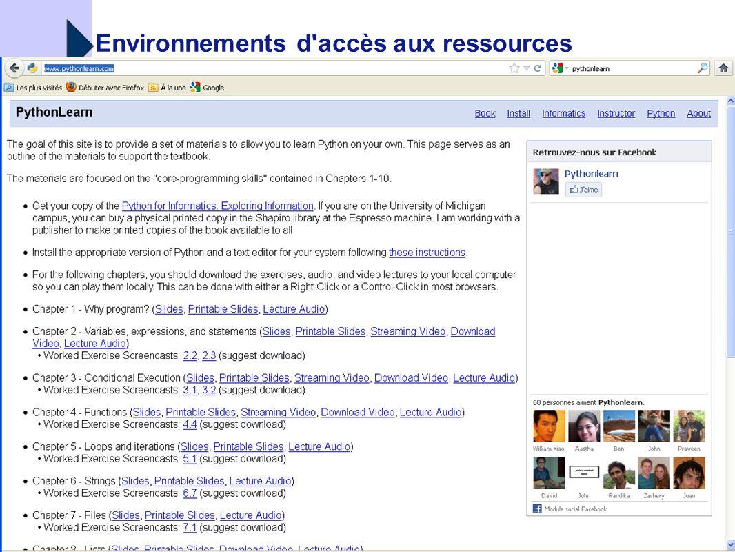 Environnements d accès aux ressources
