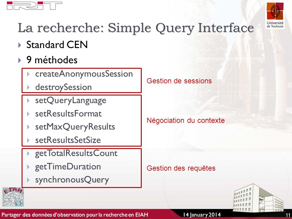 La recherche: Simple Query Interface