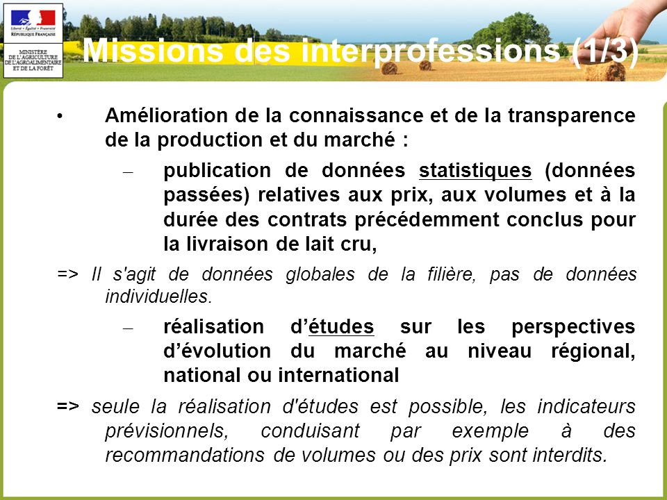 Missions des interprofessions (1/3)