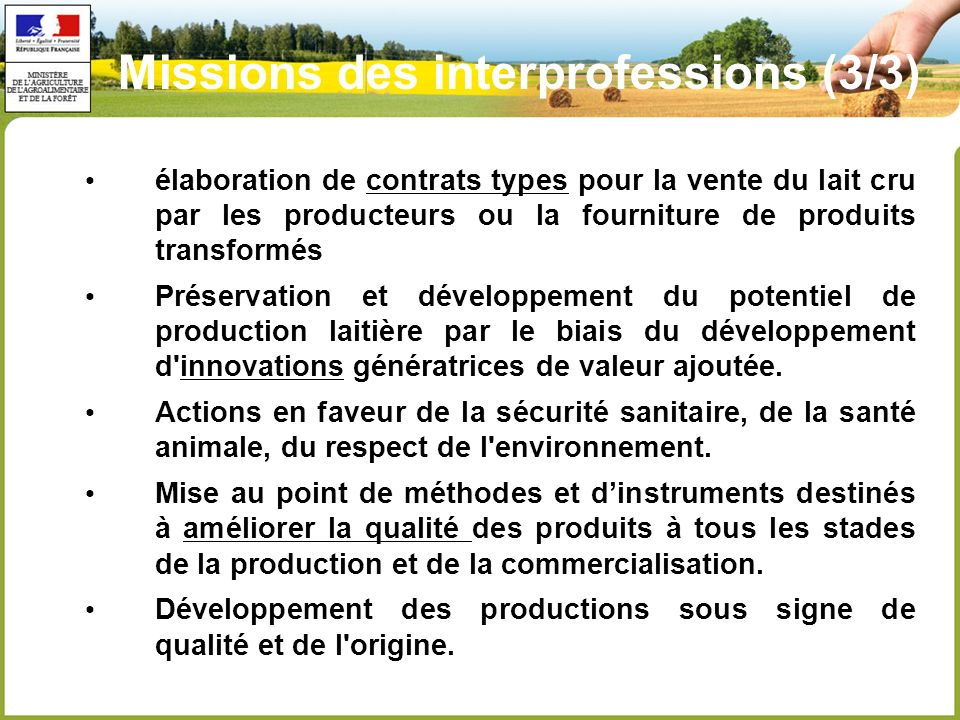 Missions des interprofessions (3/3)