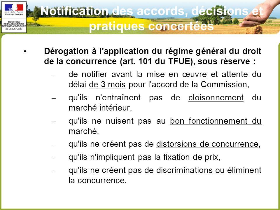 Notification des accords, décisions et pratiques concertées