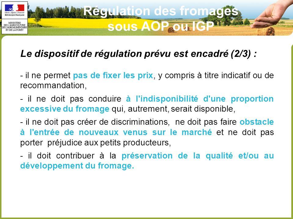 Régulation des fromages sous AOP ou IGP