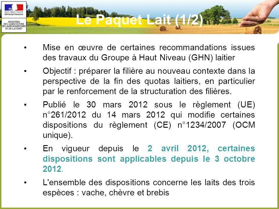 Le Paquet Lait (1/2) Mise en œuvre de certaines recommandations issues des travaux du Groupe à Haut Niveau (GHN) laitier.