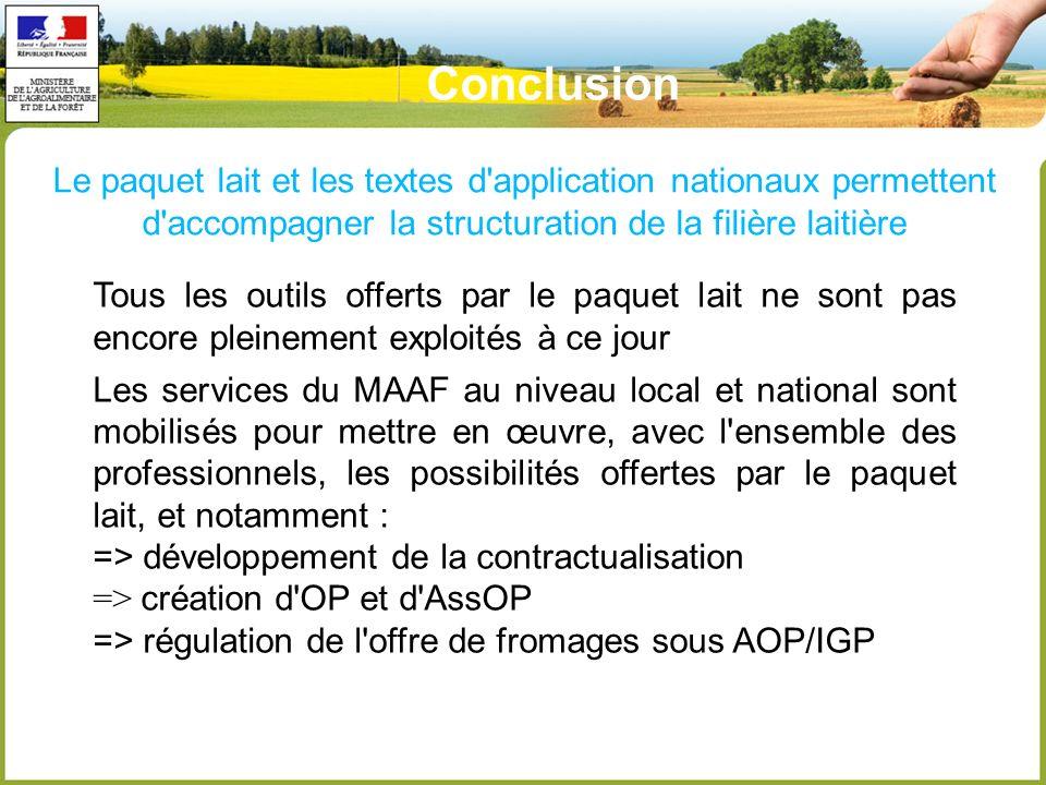 Conclusion Le paquet lait et les textes d application nationaux permettent d accompagner la structuration de la filière laitière.