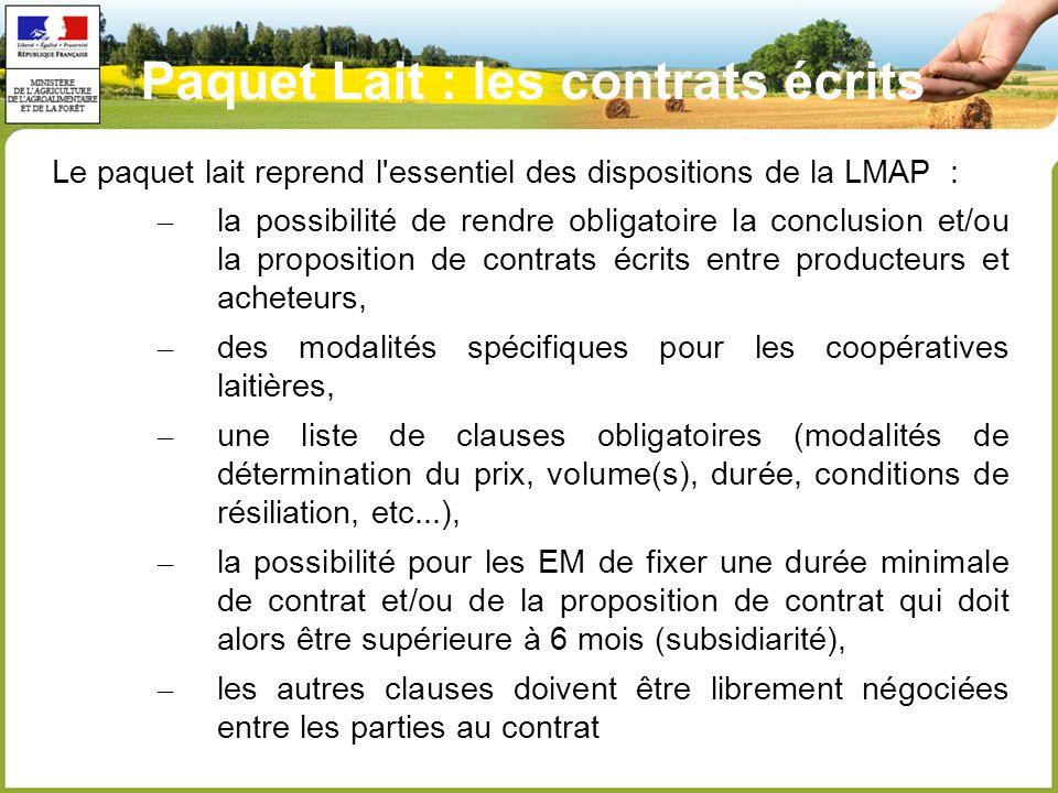 Paquet Lait : les contrats écrits