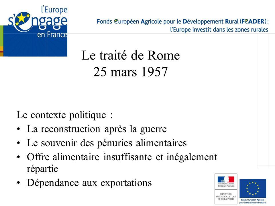 Le traité de Rome 25 mars 1957 Le contexte politique :