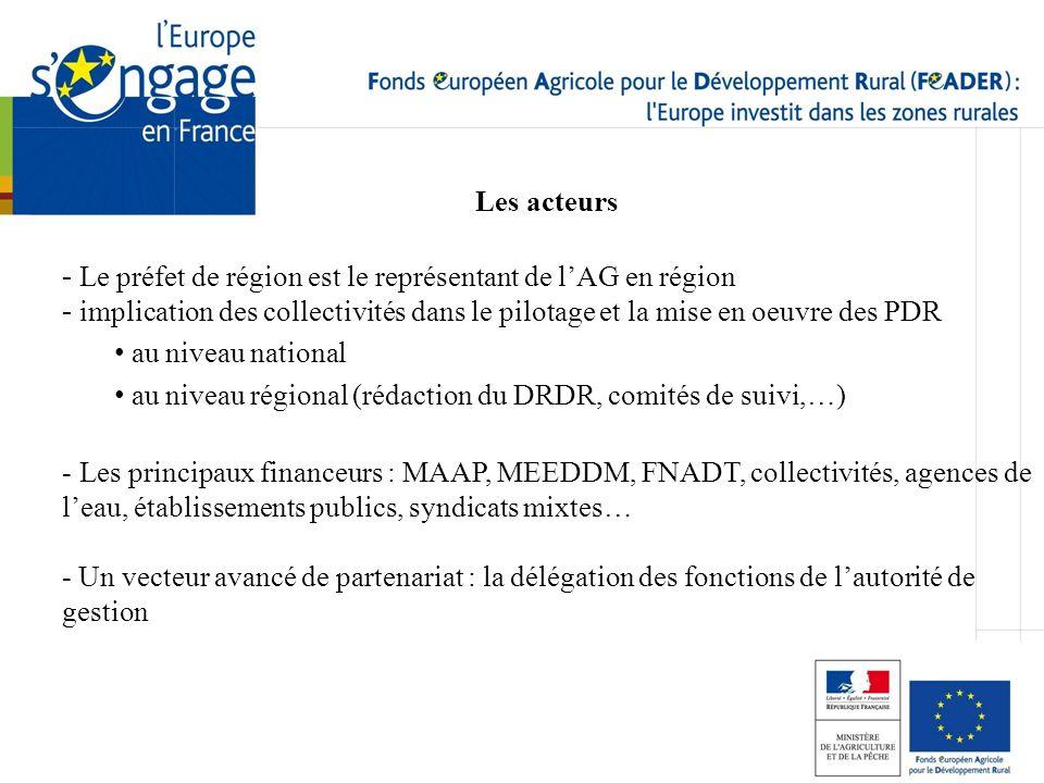 Les acteurs Le préfet de région est le représentant de l'AG en région. implication des collectivités dans le pilotage et la mise en oeuvre des PDR.