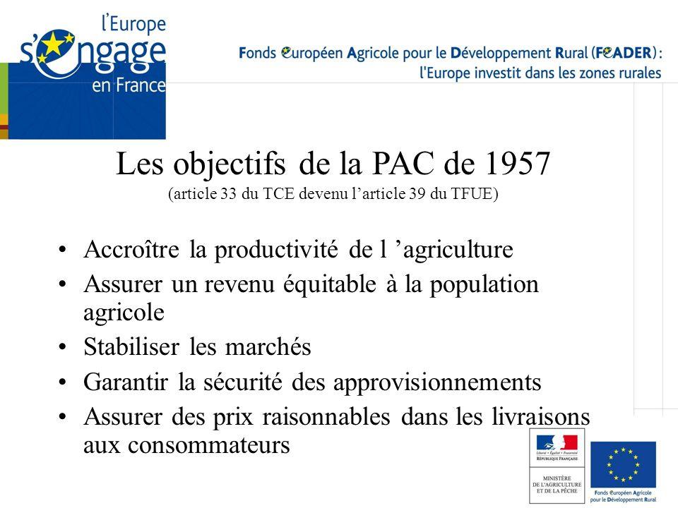 Les objectifs de la PAC de 1957 (article 33 du TCE devenu l'article 39 du TFUE)