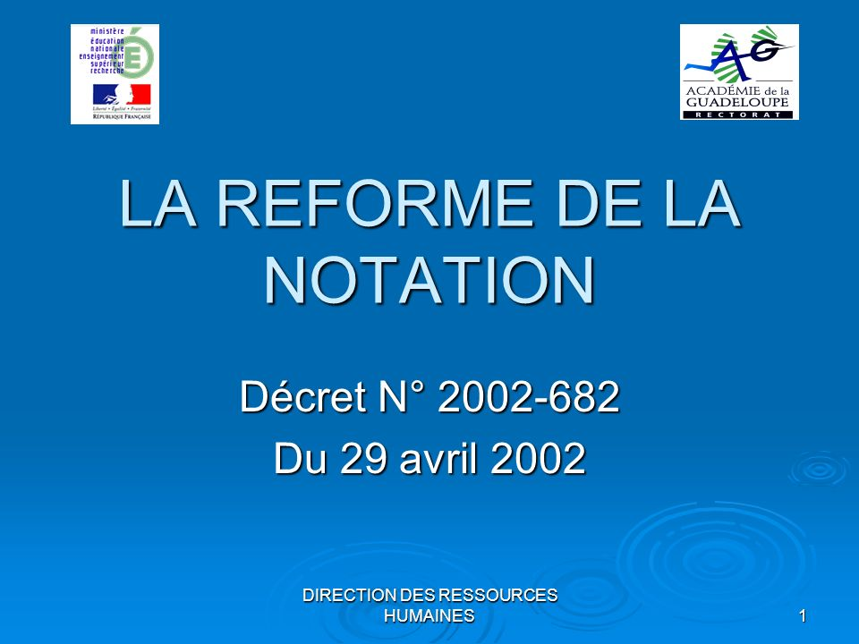 LA REFORME DE LA NOTATION