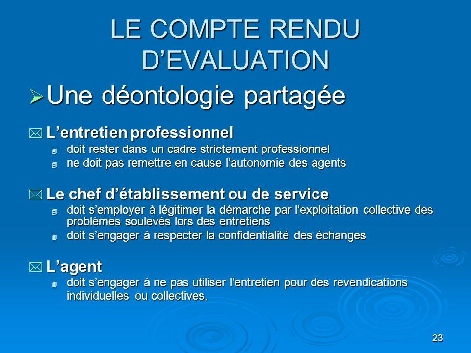 LE COMPTE RENDU D'EVALUATION