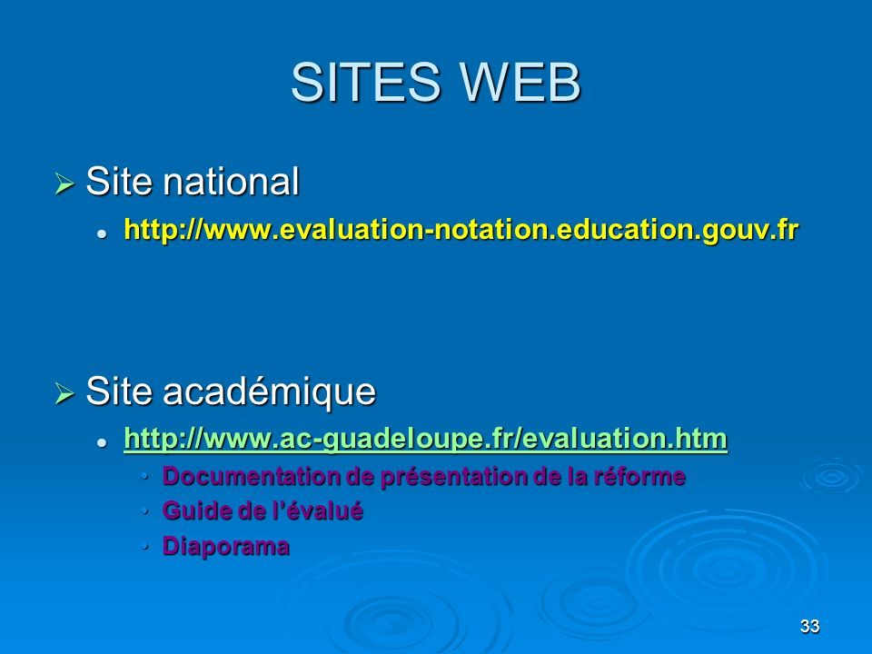 SITES WEB Site national Site académique