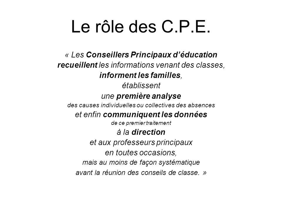 Le rôle des C.P.E. « Les Conseillers Principaux d'éducation
