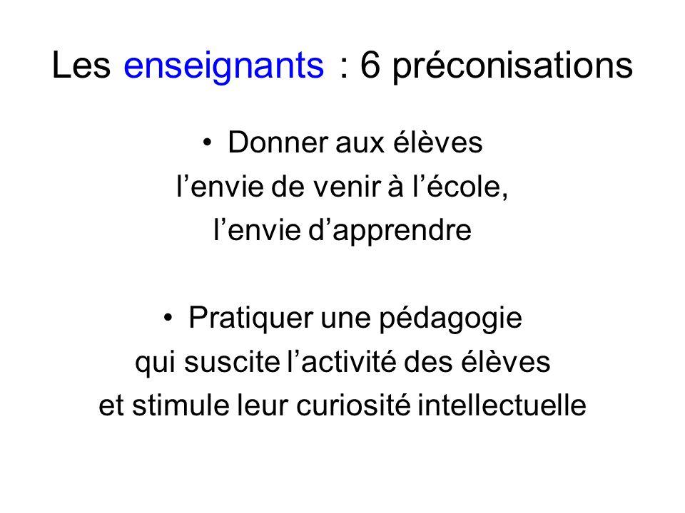 Les enseignants : 6 préconisations