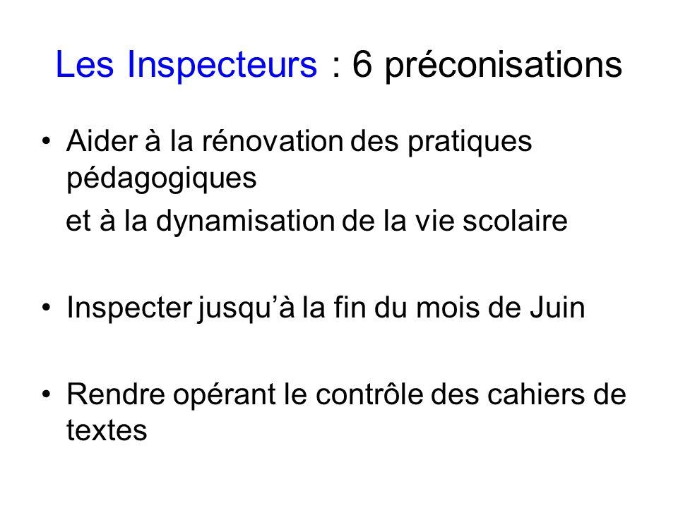 Les Inspecteurs : 6 préconisations