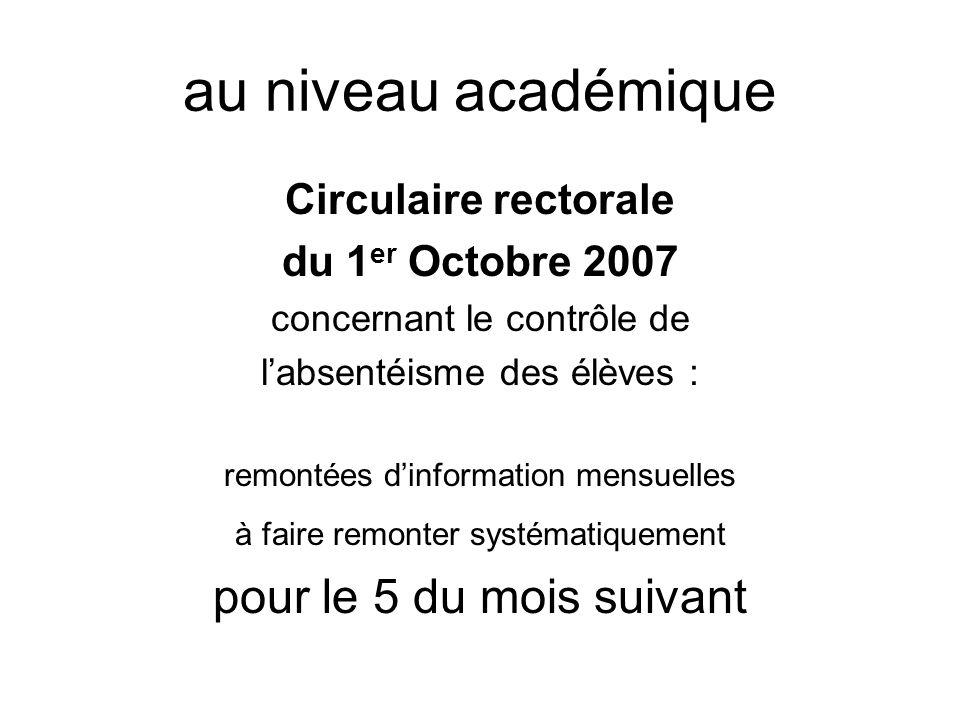 au niveau académique pour le 5 du mois suivant Circulaire rectorale