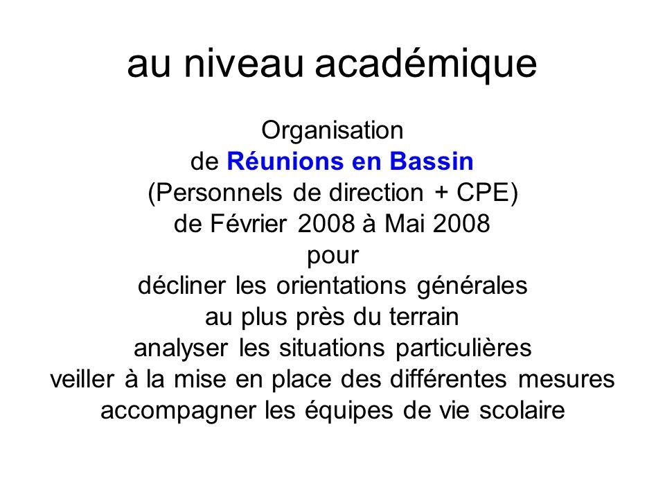 au niveau académique Organisation de Réunions en Bassin