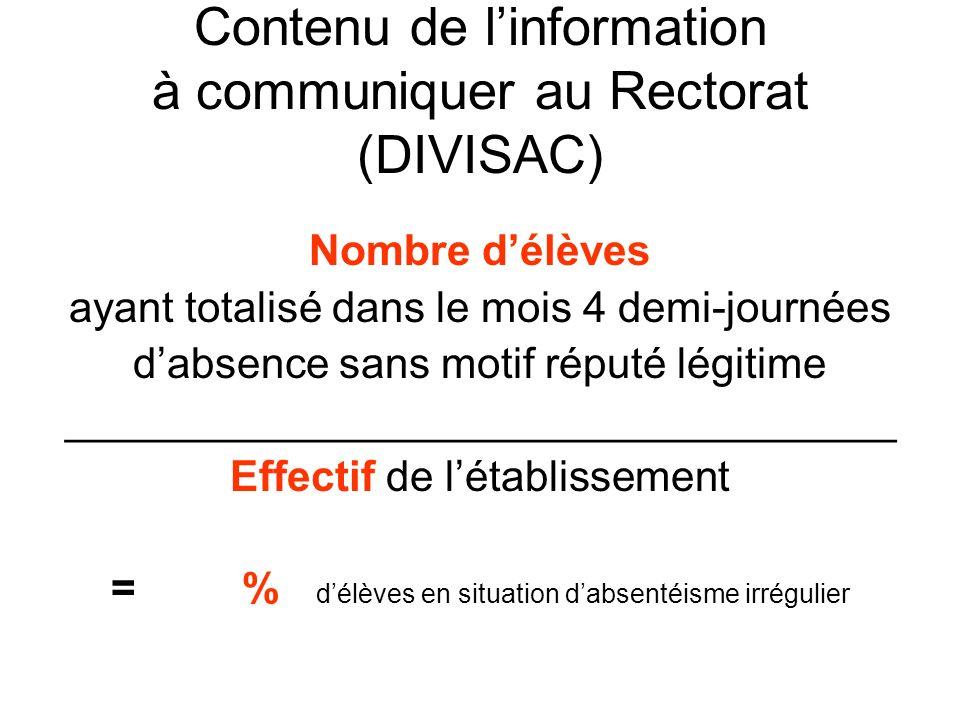Contenu de l'information à communiquer au Rectorat (DIVISAC)