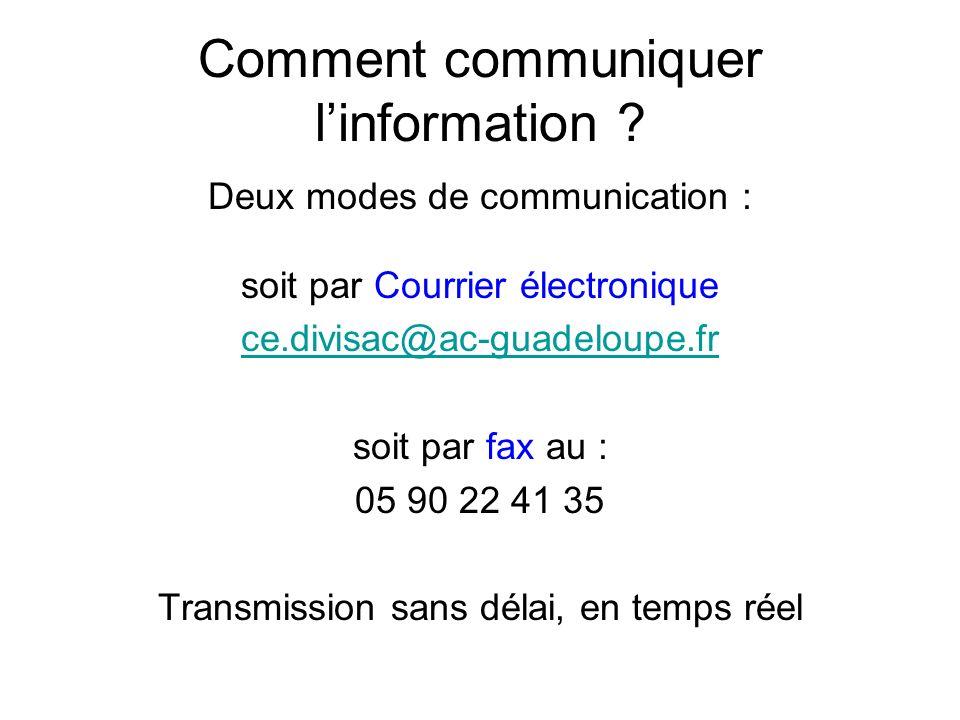 Comment communiquer l'information