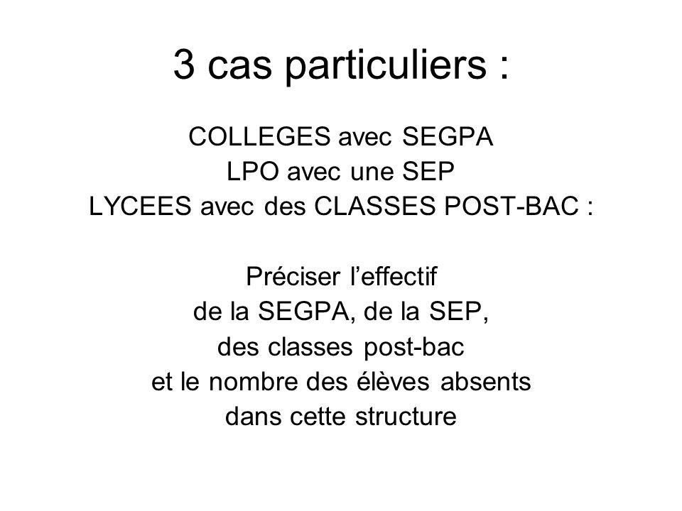 3 cas particuliers : COLLEGES avec SEGPA LPO avec une SEP