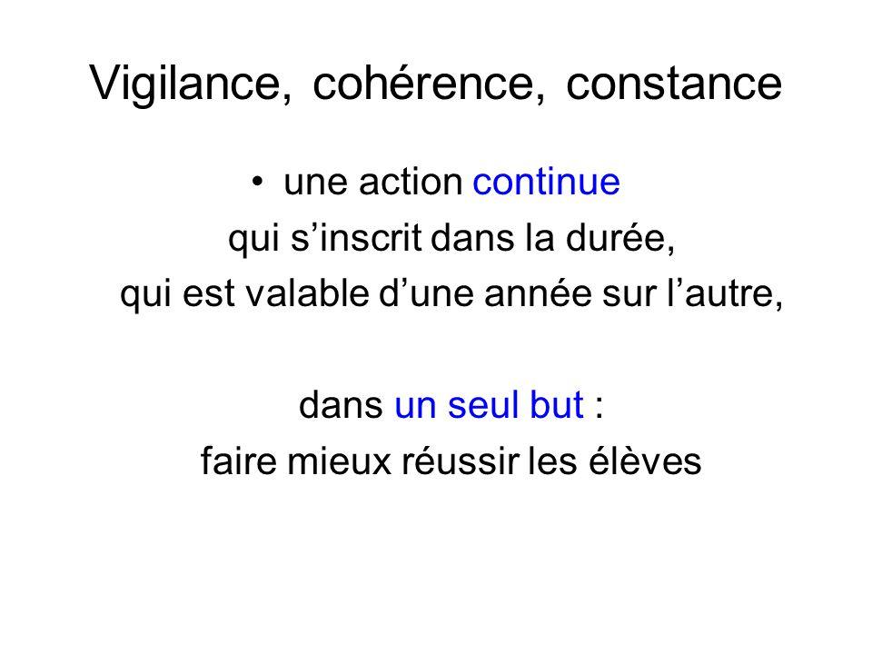 Vigilance, cohérence, constance