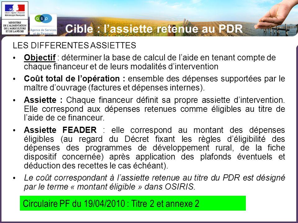 Cible : l'assiette retenue au PDR