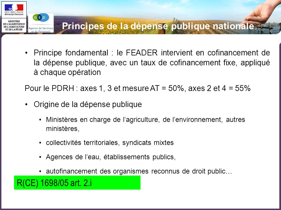 Principes de la dépense publique nationale