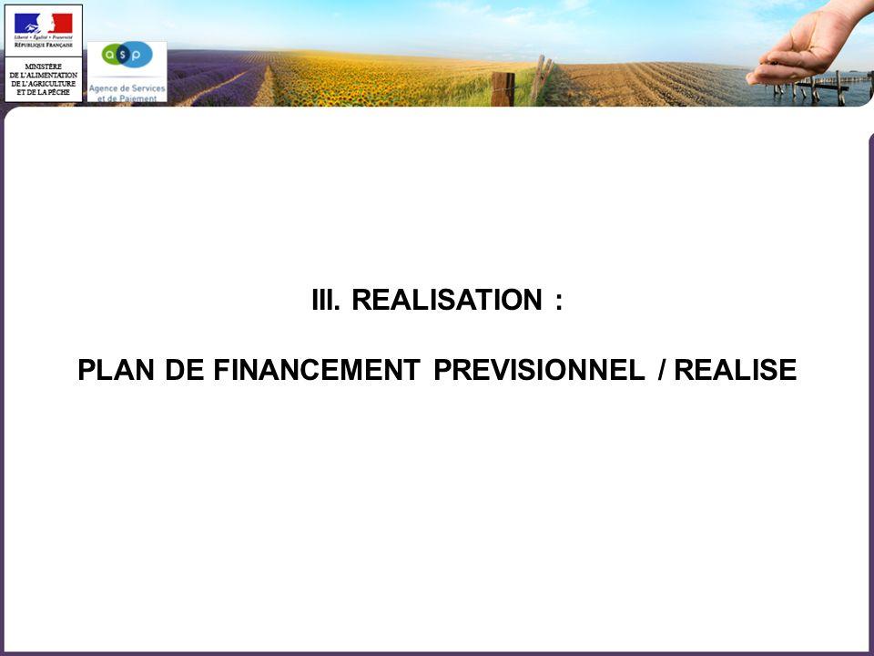 PLAN DE FINANCEMENT PREVISIONNEL / REALISE