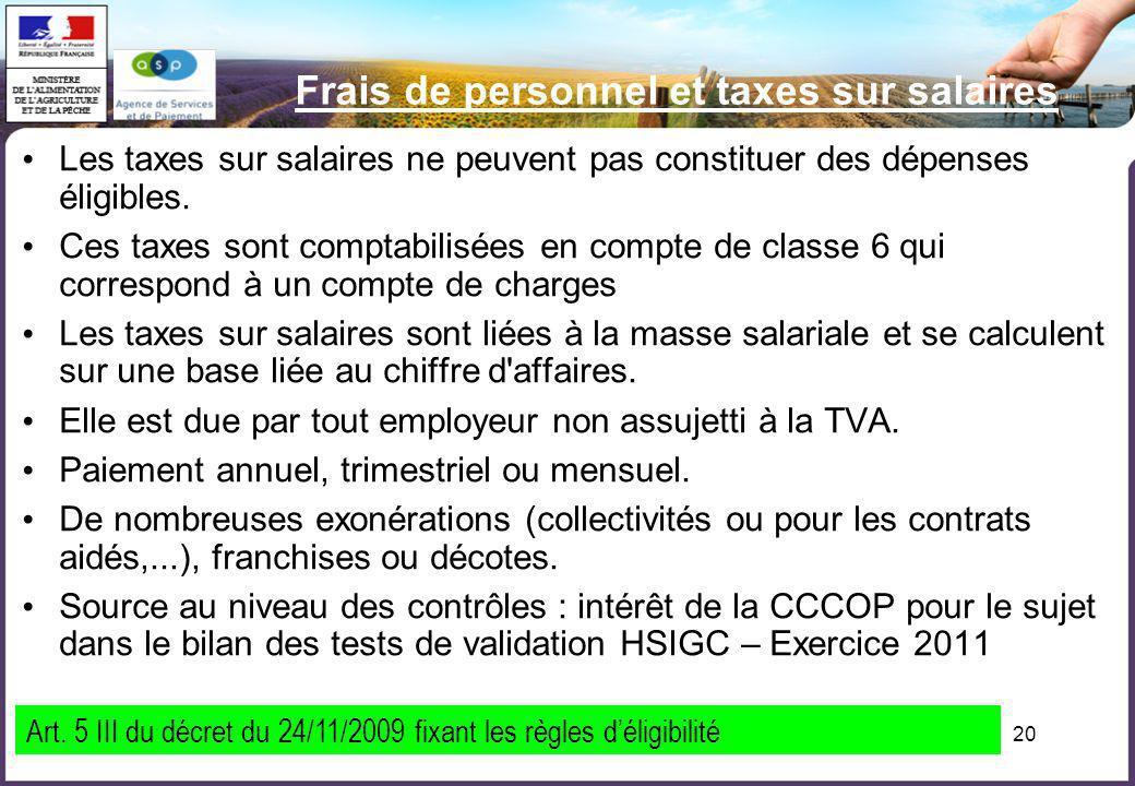 Frais de personnel et taxes sur salaires